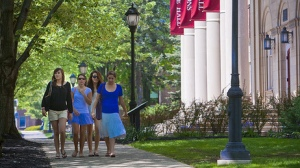 Students walk through the Lafayette campus