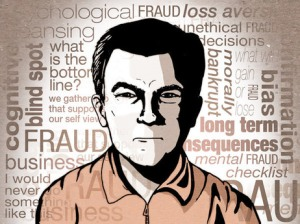 "illustration of a scowling man with a wordle of ""bad things"" words behind him"